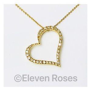 Roberto Coin 18k Slanted Diamond Heart Necklace